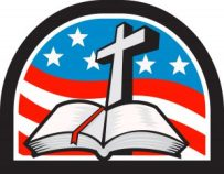 Illustration of a bible and cross with American stars and stripes flag in background done in retro style.